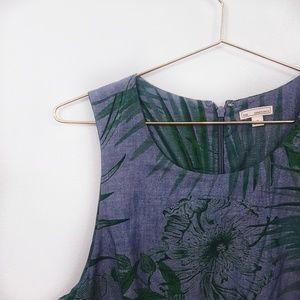 Gap Tropical Leaf Full Skirt Cotton Sleevless Dres